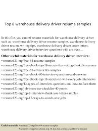 Delivery Driver Resume Cool Top 40 Warehouse Delivery Driver Resume Samples