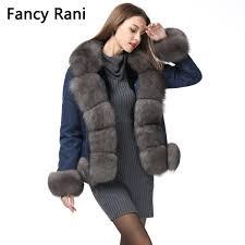 18 new denim parka real fur coat russian winter jacket women real natural fox fur coat