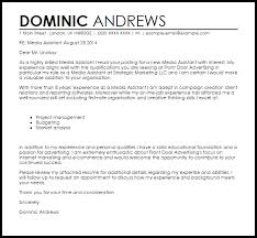 Gallery Of Media Assistant Cover Letter Sample Livecareer