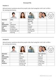 Verb To Be Chart Esl Personal File The Verb To Be English Esl Worksheets