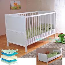 solid wood baby furniture. White Solid Wood Baby Cot Bed \u0026 Deluxe Foam #mattress #converts To #junior Furniture C