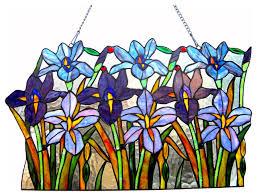 ariana tiffany glass iris window pane 24 wide
