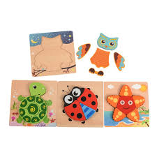 2019 pack of wooden animals primary chunky jigsaw puzzles easy grasp toy for toddlers owl turtle ladybug starfish pack of from toy abc 61 49 dhgate com