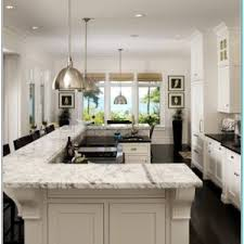 Gray KItchen Island with L Shaped Breakfast Bar