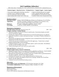 Technical Support Resume Samples It Resume Cover Letter Sample