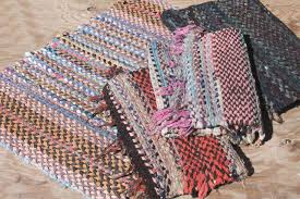 old hand woven twined rag rugs farmhouse primitive vintage rug lot from wisconsin farm estate