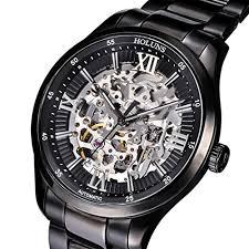 holuns men s black skeleton steampunk automatic mechanical wrist holuns men s black skeleton steampunk automatic mechanical wrist watch explore the world of steampunk
