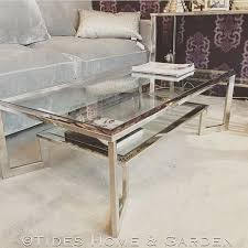 chrome and glass dual level coffee table