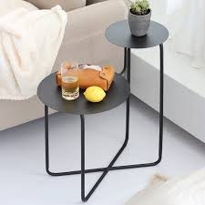 white metal end table 2 tiered double