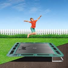 14ft x 10ft capital rectangular in ground trampoline kit green