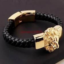 men s black genuine leather bracelet gold plate stainless steel animal lion head for