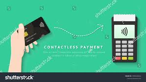 Contactless Card Design Paying Contactless Card Concept Flat Design Stock Vector