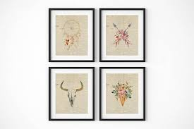 boho wall art set floral skull print newspaper print boho chic wall art dreamcatcher print floral ice cream cone boho floral arrows floral skull  on chic wall art set with boho wall art set floral skull print newspaper print boho chic