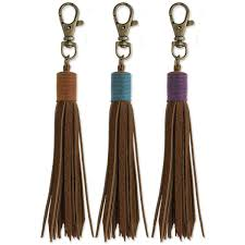 brown leather tassel purse charm view detailed images 1