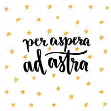 Per Aspera Ad Astra Latin Handwritten Phrase векторное