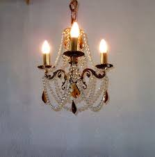 gold brass rococo 3 arms crystal chandelier refurbished