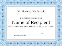 certificate of scholarship formal blue border