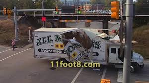 Moving truck obliterated by the 11foot8 bridge - YouTube