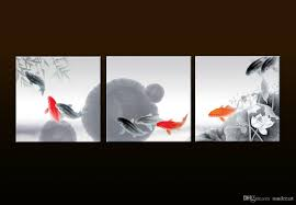 feng shui art for office. 2018 Framed/Unframed Large 3 Panel Set Animal Paintings Modern China\u0027S Wind Feng Shui Fish Koi Painting Canvas Print Wall Art For Office Decor From