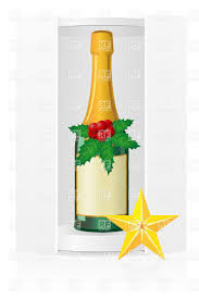 Champagne Bottle Decoration Packing Box With Champagne Bottle And Christmas Decoration Vector