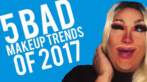 5 bad makeup trends of 2017 wavy brows lollipop lips red nose