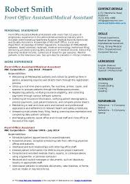 Sample Office Assistant Resume Front Office Assistant Resume Samples Qwikresume