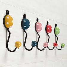 colorful ceramic decorative bohemian boho wall hooks handmade hangers coat rack 5