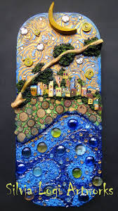 #sea #village #moon #wood #mixedmedia #mosaic see more on my ...