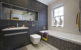 Bathroom:Nice Looking Small Bathroom With Black Tile Wall And White Vanity  Decor Idea Great