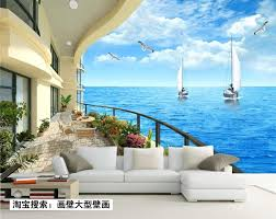 Ocean Wallpaper For Bedroom Aliexpresscom Buy Mediterranean Ocean Views 3d Stereoscopic Hd