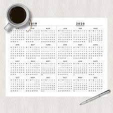 2020 Year At A Glance Calendar Template Free 2019 2020 2021 And 2022 Full Year One Page At A