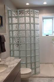 solid surface shower pan with a glass block prefab wall panels