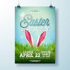 Green Party Flyer Vector Easter Party Flyer Illustration With Rabbit Ears And