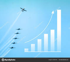 Chart Model Representing Ascension Airplane Flying Standing