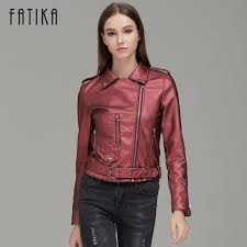 autumn winter fashion women faux leather jackets and coats pockets zipper belted motorcycle jacket outwear for woman extra image 2 jpg