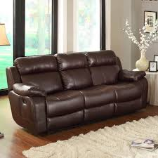 Leather Reclining Living Room Sets Homelegance Marille 3 Piece Reclining Living Room Set In Brown