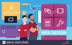 Flat Website Design Ideas Web Design Technology Presentation Two Man Mix Race Over