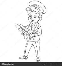Kleurplaat Cartoon Vliegtuig Piloot Met Speelgoed Vliegtuig Ontwerp