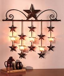 rustic hanging stars wall sconce candle holder tea light home
