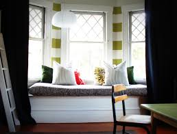 Home Interior:Cool Bay Window Design With White Wooden Bench And Frame Iron  Window And