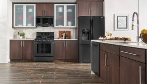dark brown kitchen cabinets with stainless steel appliances elegant lg matte black stainless steel embrace the
