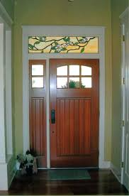 arts and crafts front doors. custom stained glass transom above the front door design of magnolias created by designer arts and crafts style art deco numbers doors r