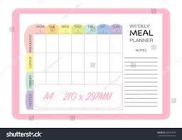Weekly Meal Planner Insert Template Menu Stock Vector Royalty Free