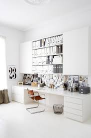 black white home office inspiration. long desk study office room large work home decor ideas big table interior design black white inspiration o