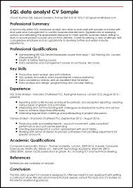 Sql Data Analyst Cv Great Data Analyst Sample Resume Best Sample