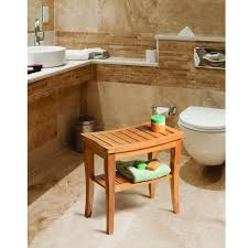 Belmint Deluxe Bamboo Shower Seat Bench with Storage Shelf - Free Shipping  Today - Overstock.com - 19508953