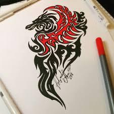 тату эскиз дракон орнамент трайбл эскиз нарисован мастером