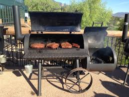 offset barrel smoker with briskets
