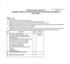 Example Of Bid Specification Sheet For Computer Free Download ...