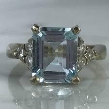 Light Aquamarine Engagement Ring Vintage Aquamarine Diamond Engagement Ring 14k White